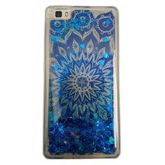 Carcasa Samsung Galaxy J7 2016 Mandala Azul De Fondo Y Purpurina Líquida Azul Con Corazones