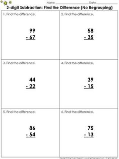 Find the Difference (No Regrouping): 2-digit Subtraction Problem ...