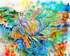 "Lion Fish Art on Cuttingboard ""Bonita Lion Fish"" by Jen Callahan Artwork ~ Coastal Color"