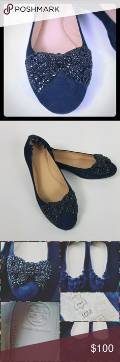 Tory Burch Suede jeweled bow slipper Blue Suede ballet slipper with black  jeweled bow Tory Burch