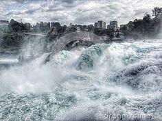 The waterfall in Switzerland.