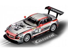 "The Carrera Mercedes-Benz SLS AMG GT3, Team Black Falcon ""No.2"", is a superbly detailed Carrera Evolution slot car for use on any 1/32 analogue slot car layout."