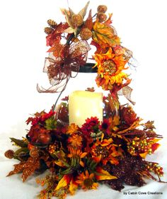 Fall Thanksgiving Floral Arrangement Centerpiece Table Top with Lantern and flameless candle StuNNinG UniGuE design by Cabin Cove Creations