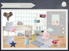 dormitorio compartido niño y niña, habitación infantil, colores pastel, litera dura, vinilos infantiles, vinilos lunares, rosa y azul, kids room, decoración infantil, kidsmopolitan