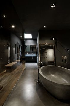The Insider Secrets of Lovely Contemporary Bathroom Designs Discovered « Home Decoration Contemporary Bathroom Designs, Bathroom Design Luxury, Contemporary Interior, Home Interior Design, Dark Bathrooms, Dream Bathrooms, Farmhouse Bathrooms, Bathroom Black, Luxury Bathrooms