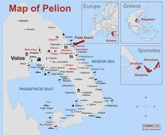pelion-map greece Greece Map, Skiathos, Beautiful, Self
