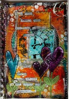 Being happy... mixed media, art journal by red_birdie