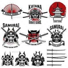 Find Karate School Labels Samurai Swords Masks stock images in HD and millions of other royalty-free stock photos, illustrations and vectors in the Shutterstock collection. Samurai Art, Samurai Swords, Karate School, Bull Tattoos, Sword Tattoo, Sword Design, Japanese Warrior, School Labels, Asian Tattoos