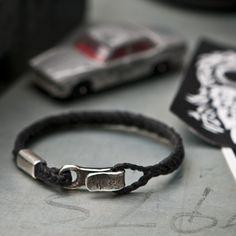 www.877workshop.com — Men's bracelet Canvas Sterling Silver hook black