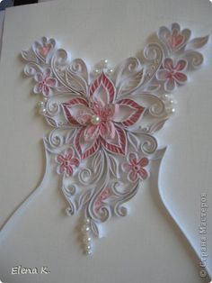 Part 1 of 4 - Quilled Heart Quilling Cake, Neli Quilling, Quilling Paper Craft, Quilling Flowers, Paper Flowers, Paper Crafts, Quilling Patterns, Quilling Designs, Design Your Own Card