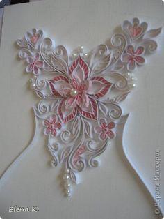 Part 1 of 4---Картина панно рисунок Квиллинг Узор на свадебном платье Бумажные полосы фото 5