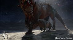 Seen in the newest trailer with its equally terrifying offspring, Graphorns are dinosaur-like creatures with a spell-resistant hide and long, sharp horns. They're found among the mountains of Europe and are often mounted by trolls who enjoy riding them. - Image Credit: Warner Bros.