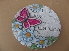 Comfy Hour Dragonfly Flower Garden Stepping Stone 10 Inches