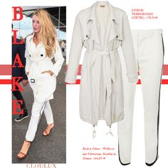 Blake Lively in einem weißen Trenchcoat Blake Lively Outfits, Blake Lively Style, Street Style, Celebrities, Jackets, Fashion, Fashion Styles, Down Jackets, Moda