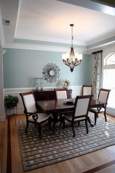 Great ceiling wainscoting sherwin williams tradewind for Bold dining room colors