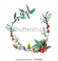 Watercolor wild berries frame. Hand drawn floral wreath with natural elements: cranberry, blackthorn, blueberry branches and leaves. Vector vintage design