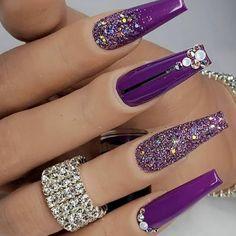 Purple Acrylic Nails, Purple Nail Art, Best Acrylic Nails, Acrylic Nail Designs, Fancy Nails, Bling Nails, Swag Nails, Fabulous Nails, Gorgeous Nails