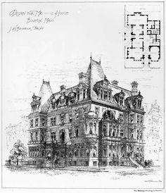 Design for a mansion, Boston Classic Architecture, Victorian Architecture, Architecture Drawings, Historical Architecture, Architecture Plan, Vintage House Plans, Building Plans, House Floor Plans, Victorian Homes