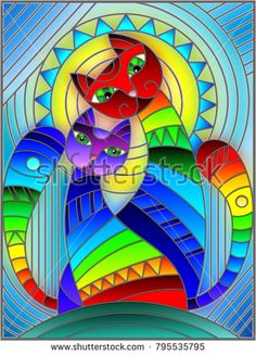 Imagens, fotos stock e vetores similares de Illustration in stained glass style with abstract geometric rainbow cat - 788027848 Sonne Illustration, Geometric Cat, Cat Background, Faux Stained Glass, Cat Quilt, Glass Wall Art, Fabric Painting, Cat Art, Art Projects