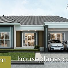 Small House Design Plans with 2 Bedrooms Full Plans - House Plans Sam Bungalow House Design, Small House Design, Modern House Design, Modern House Plans, Small House Plans, Modern Tropical House, 2 Bedroom House Plans, Two Storey House, One Story Homes