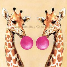 Illustration Print Art Poster Acrylic Painting Kids Decor Drawing Gift : Chewing Gum Double Giraffes. via Etsy.