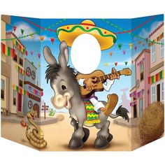 A neat looking photo op prop that will add a little spice to your Cinco De Mayo event. Subject needs to stick their head through the hole and it will give the impression they are riding a donkey while
