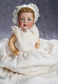 """16"""" (41 cm.) German Bisque Character """"Hilda"""" by Kestner with Antique Costume 1100/1400"""