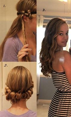 Wrap sections of damp hair around an elastic headband, leave overnight.