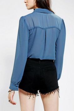Urban Outfitters Kimchi Blue Pretty Chiffon Western Blouse in Blue - Lyst Hoi An Tailor, Urban Outfitters Women, Kimchi, Westerns, Bomber Jacket, Chiffon, Blouse, Pretty, Jackets
