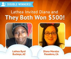 Congrats to another recent #DoubleWinner pair! Diana Morales won, so Lathea also won because Lathea referred Diana!  Congrats to both!    (if you're wondering why Lathea wins from referrals so much, it's because she has 1,200 friends on LiveToWin!)