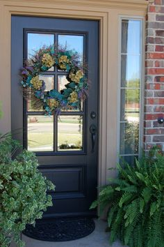 Turquoise? Front Door   Beyond the Screen Door; love this--just would paint for a pop of color...and change the wreath :)
