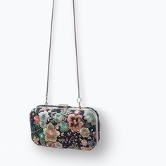 ZARA - BOX CLUTCH Embroidered floral print clutch.Metallic beading detail.Lining.Detachable metal shoulder stra