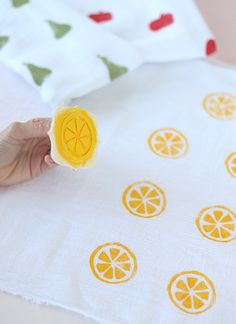 Pucker Up with 6 Citrus Crafts ⋆ Handmade Charlotte DIY Citrus Swaddle Blankets Diy And Crafts, Crafts For Kids, Arts And Crafts, Craft Projects, Sewing Projects, Stamp Carving, Fabric Stamping, Handmade Stamps, Fruit Party