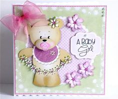 Baby Girl Bear on Craftsuprint designed by Janet Roberts - made by Denise Murray - Printed onto good quality matte photo paper and mounted onto an 8x8 scalloped card blank with a mat of co-ordinating paper.I used glue gel to add all of the decoupage elements,3d foam for the sentiment and embellished with some pink gems,pale green pearls and an organza bow.A super cute design that's just perfect for that new arrival. - Now available for download!