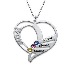 Buy Engraved Mom Birthstone Necklace - Sterling Silver from MyNameNecklace Canada! Our personalized jewelry is the perfect gift for every occasion Crystal Jewelry, Jewelry Necklaces, Silver Jewelry, Diamond Jewelry, Silver Ring, 925 Silver, Silver Bracelets, Jewellery, Swarovski