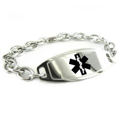MyIDDr Custom Engraved Womens Medical Alert Bracelet, Steel O-Link Chain, Medium * You can get more details by clicking on the image.