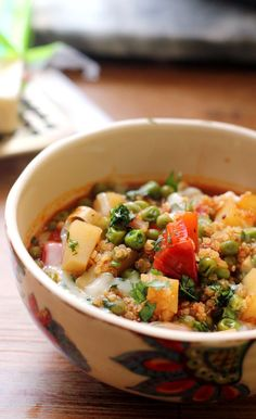 healthy quinoa and vegetable stew! It's almost time for soup season, so I'm stocking my fridge with this hearty and healthy quinoa and vegetable stew! Healthy Meals For One, Healthy Foods To Eat, Healthy Snacks, Healthy Eating, Healthy Soups, Healthy Dishes, Healthy Cooking, Food Dishes, Main Dishes