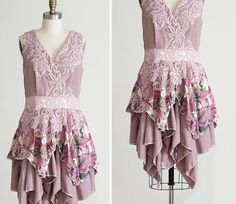 Fairy Godmother Dress in Mauve Muted Rose with Lace and Handkerchief Hem, Upcycled Floral and Striped Dress, Medium