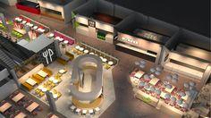 Kauppakeskus Valkean Ravintolamaailma Kööki tähtää rentoon, vaivattomaan ja viihtyisään food court -tunnelmaan.