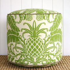 Green Pineapple outdoor pouf ottoman floor by SquareFoxDesigns, $125.00