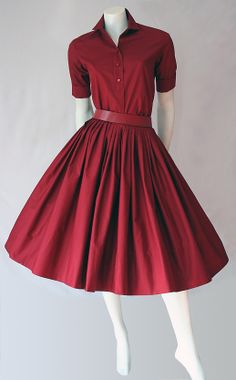 50s Miss Pat red skirt and shirt full length, I just want a whole closet of these in different colors :) 1950s Fashion, Vintage Fashion, Classic Fashion, Vintage Style, Wine Dress, Picnic Dress, Shirtwaist Dress, Beautiful Dresses, Pretty Dresses