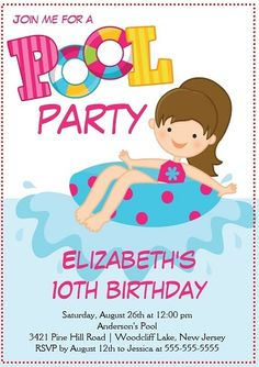 76 best kids party invitations images on pinterest kid birthdays this gorgeous pool party invitation would be great for your summer birthday party there are stopboris Choice Image