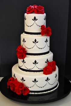 55 Beautiful Red And Silver Wedding Cakes Everybody Will Love - VIs-Wed Black Wedding Cakes, Elegant Wedding Cakes, Elegant Cakes, Beautiful Wedding Cakes, Red Wedding, Cake Wedding, Perfect Wedding, Wedding Ideas, Black And White Cupcakes