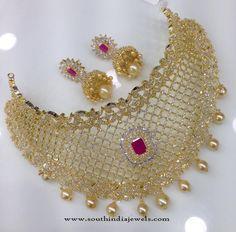 One Gram Gold AD choker with Jhumka, American Diamond Choker Necklace Models, Gold Plated American Diamond Choker Necklace Models. Gold Bridal Jewellery Sets, Pakistani Bridal Jewelry, Mens Gold Jewelry, Fancy Jewellery, Gold Jewellery Design, Stylish Jewelry, Hand Jewelry, India Jewelry, Girls Jewelry