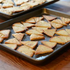 Simply Pita Chips.  Olive oil, salt, and pepper. Place in oven at 325 degrees for 12-15 minutes.
