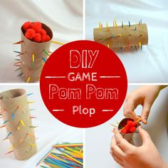 Want a fun game for the older children that will keep them busy and they can help make? Pom Pom Plop How to Play: Draw a color card and this pull out a tooth pick that matches that color. The pers...