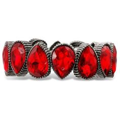 Jules B Red Silver-Tone Red Stretch Bracelet ($8.49) ❤ liked on Polyvore featuring jewelry, bracelets, red, stretch jewelry, red jewelry, silver tone jewelry, red bangles and teardrop jewelry