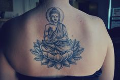 This is my first tattoo! It was done by Jay at Downtown Tattoos in Webster, MA back in July and took about 4 hours to do. It was my birthday present from my mom, who has a Buddha on her lower back. I grew up with Buddha figures and statues throughout my house and I've always liked them and the idea of Buddhism so I knew exactly what I wanted for my first tattoo.