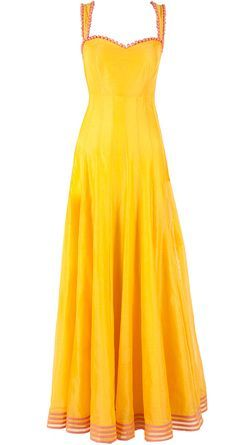 Yellow chanderi floor length anarkali available only at Pernia's Pop-Up Shop. Anarkali Dress, Pakistani Dresses, Indian Dresses, Indian Outfits, Gown Dress, Indian Attire, Indian Ethnic Wear, Desi Clothes, Indian Clothes