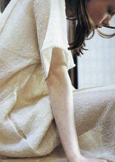 girl, white, linen, anomie, profile, portrait,brunette,